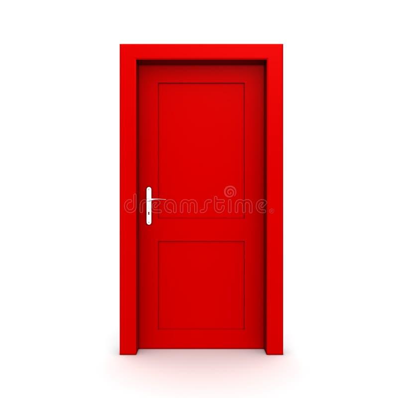 Sola puerta roja cerrada stock de ilustración