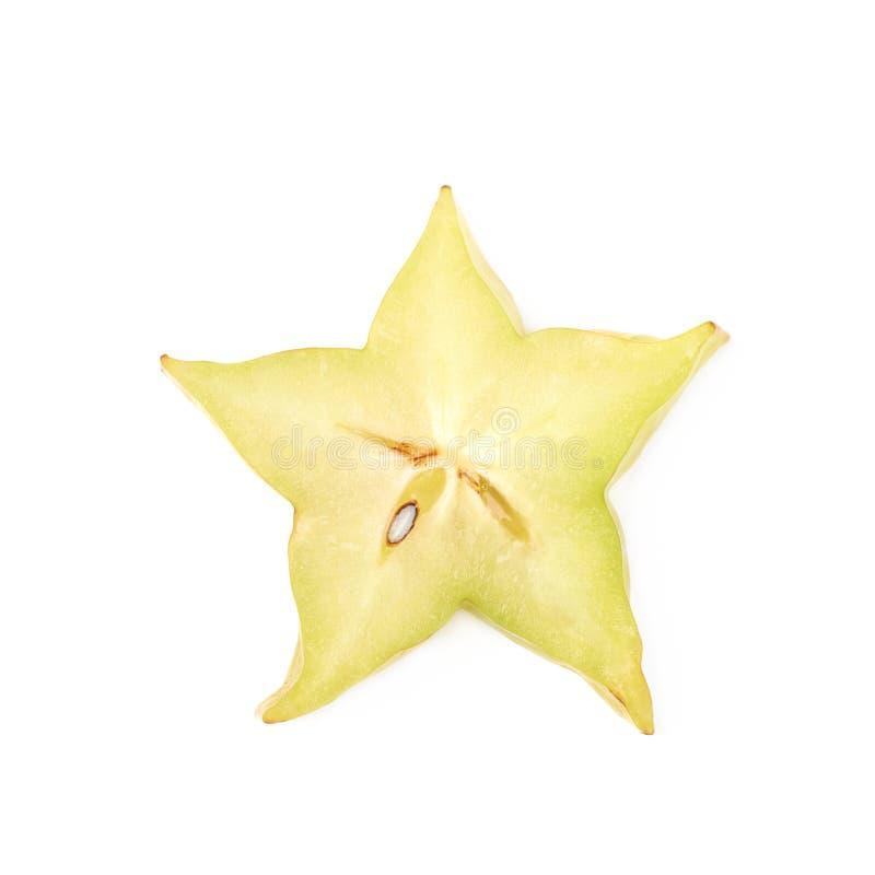 Sola rebanada de fruta del carambola imagen de archivo