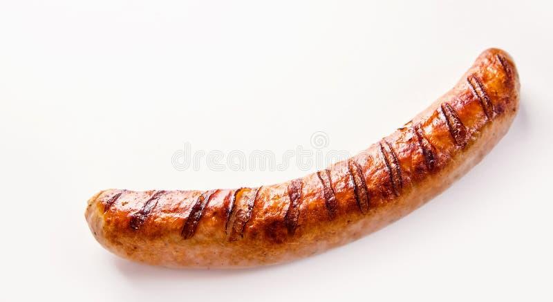 Sola salchicha alemana de Bratwurst en blanco imagen de archivo