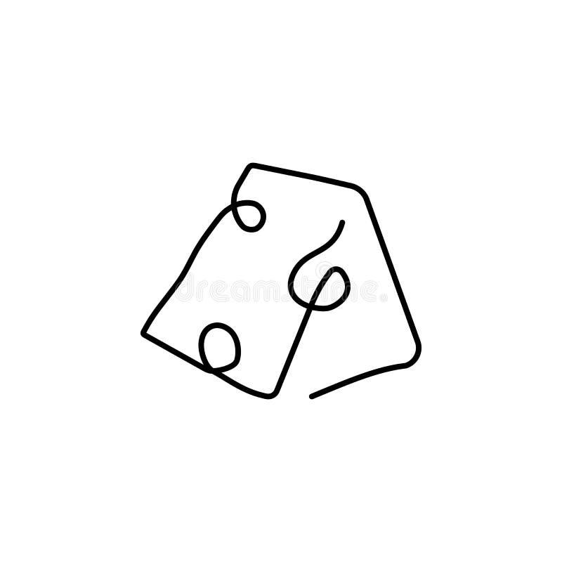 Sola una línea exhausta continua silueta a mano de la imagen del queso L?nea arte stock de ilustración