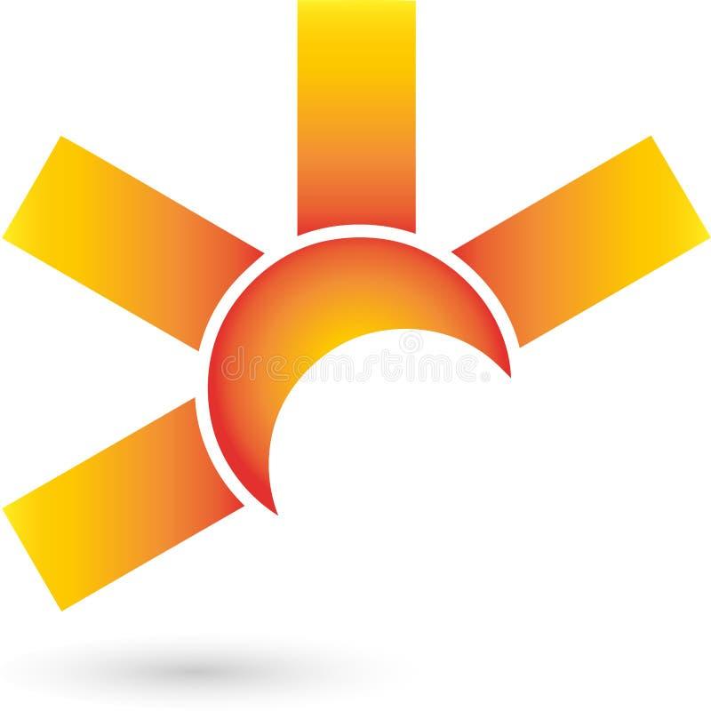Solabstrakt begrepp-, sol- och lopplogo stock illustrationer