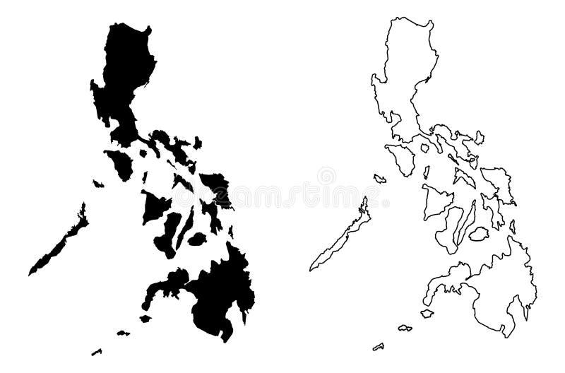 Solamente el mapa agudo simple de las esquinas de Filipinas vector el dibujo M stock de ilustración
