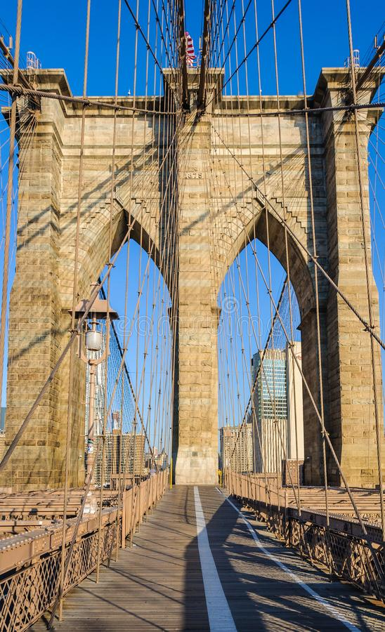 Solamente en el puente de Brooklyn, Nueva York, los E.E.U.U. fotos de archivo libres de regalías