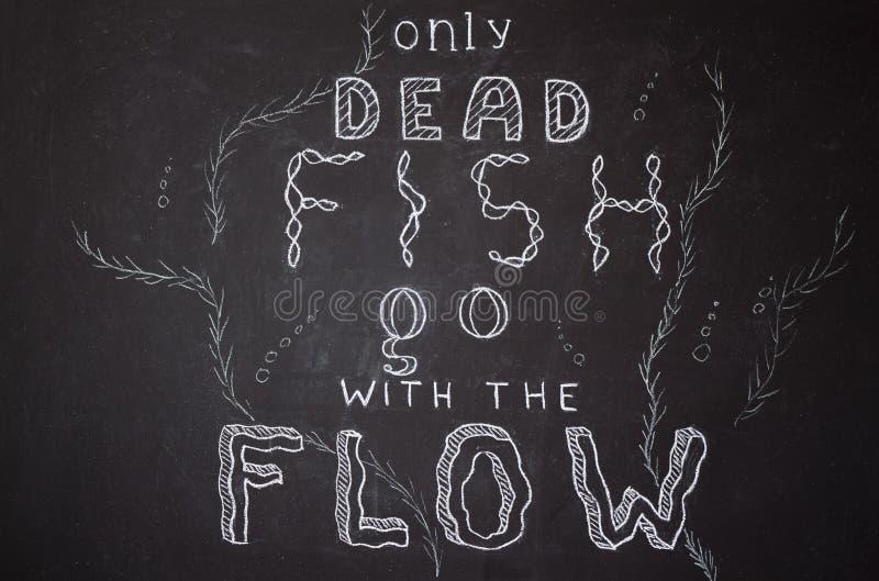 Solamente los pescados muertos van con el flujo ilustración del vector
