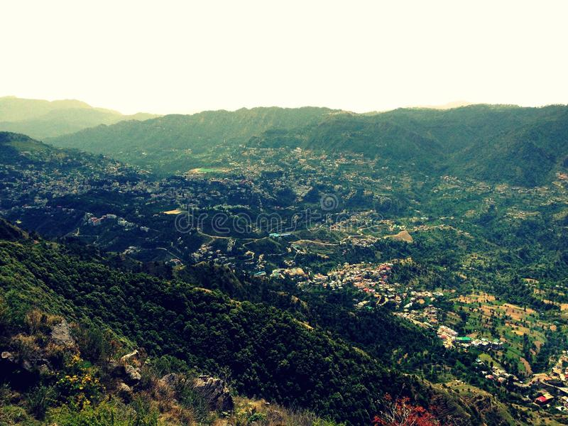 Solan city (mushroom city). Solan city also called mushroom city view from karol mountain homes are on middle of mountain stock photography