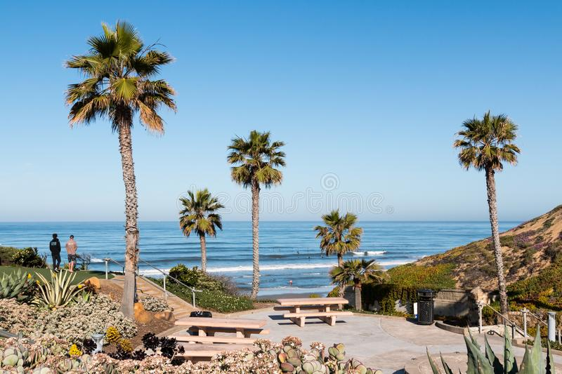 People Enjoy View of Ocean at Fletcher Cove Beach Park in Solana Beach stock photography