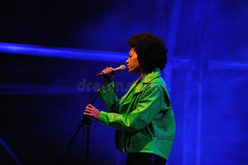 Solange Knowles esegue al festival 2013 del suono di Heineken Primavera immagine stock libera da diritti