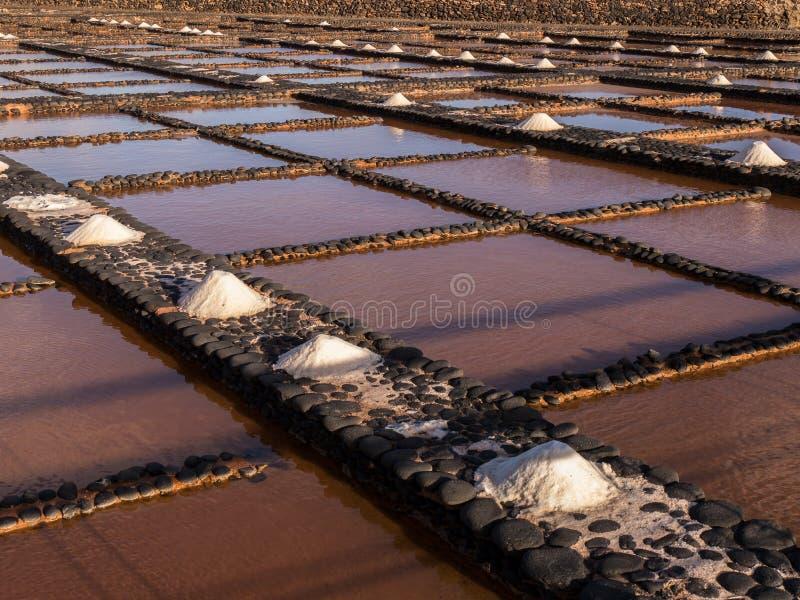 Solankowe niecki w Fuerteventura, wyspy kanaryjska zdjęcia stock