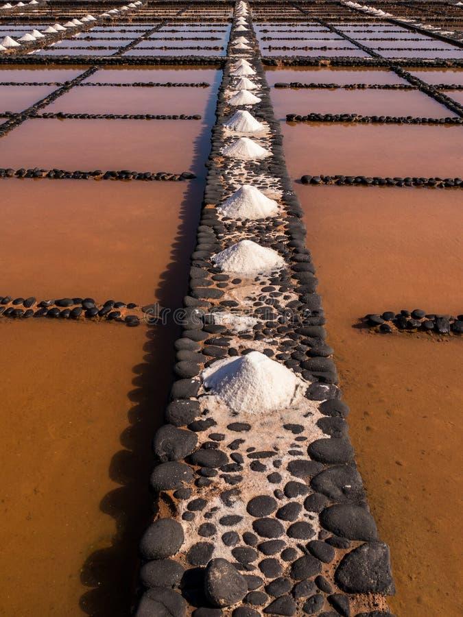 Solankowe niecki w Fuerteventura, wyspy kanaryjska zdjęcie stock