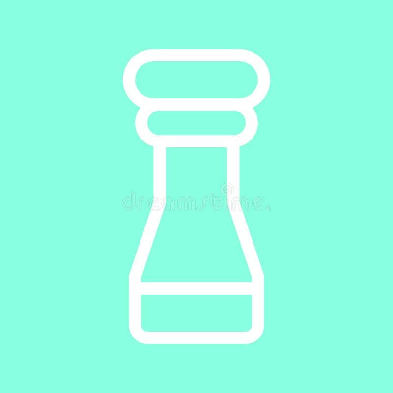 Solankowego i pieprzowego potrząsacza ikona w modnym mieszkanie stylu odizolowywającym na popielatym tle Kuchenny symbol dla twój royalty ilustracja