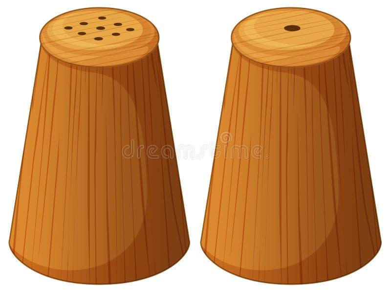 Solankowi i pieprzowi potrząsacze robić drewno royalty ilustracja