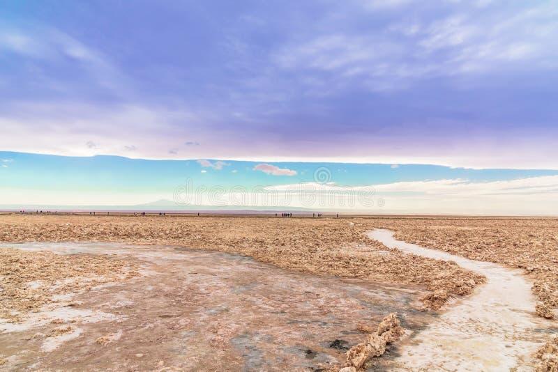 Solankowy krajobraz laguną Cejar w pustyni Atacama, Chile - zdjęcie stock