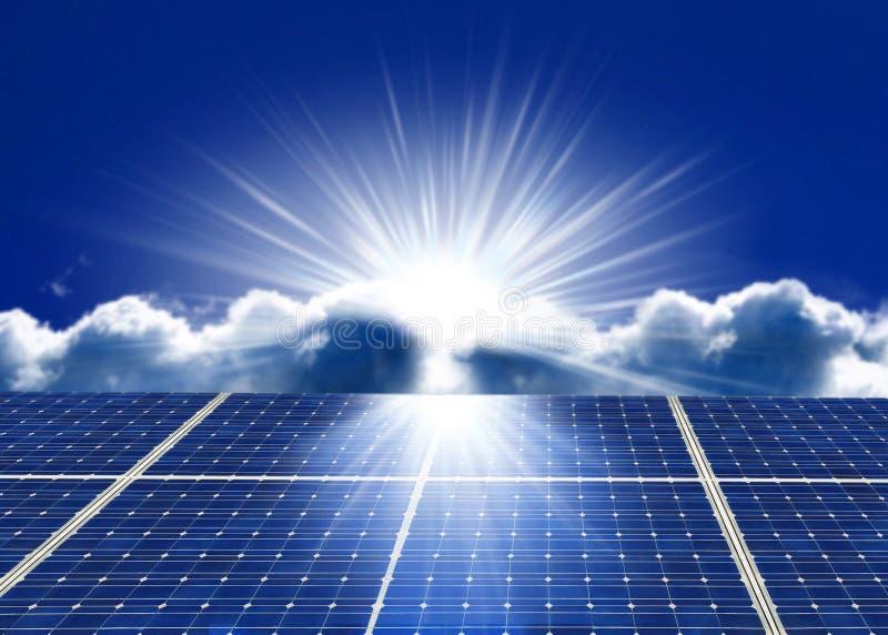 Solar. Energy panels with blue sky