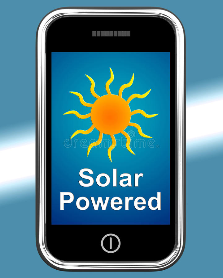 Solar angetrieben am Telefon zeigt alternative Energie und Sonnenlicht stock abbildung