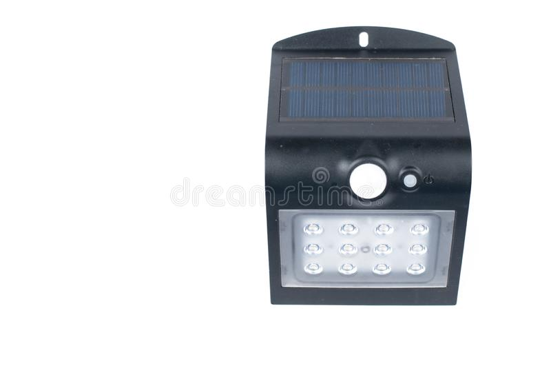 Solar battery isolated on white background.Copy space. Supply, solar-power, eco, energy, environmental, charger, phone, generator, cell, sun, ecology stock photo