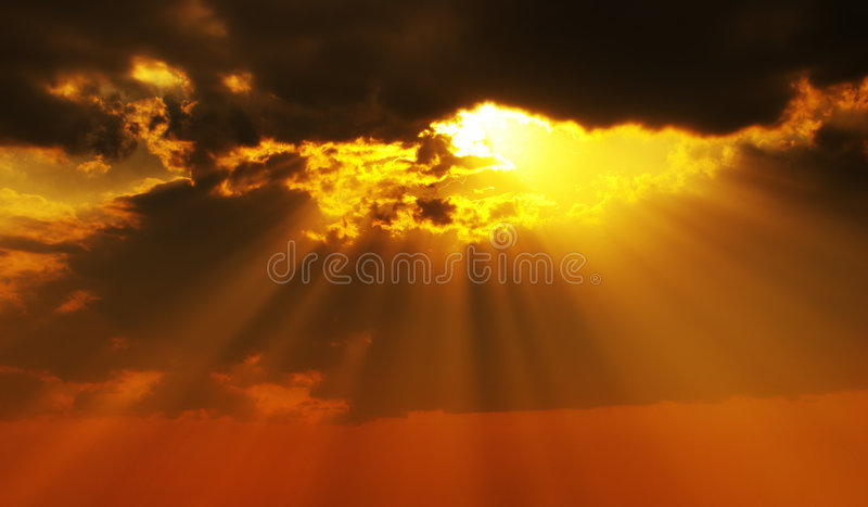 Solar beams stock image