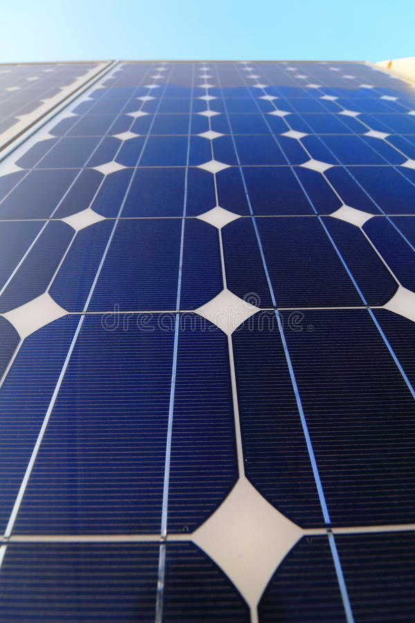 Solar cell battery panel. Detail and close-up stock photo
