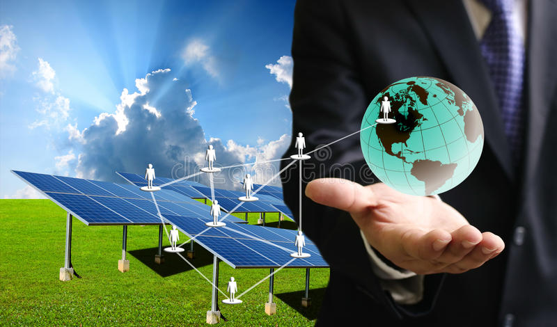 Solar cell business stock image