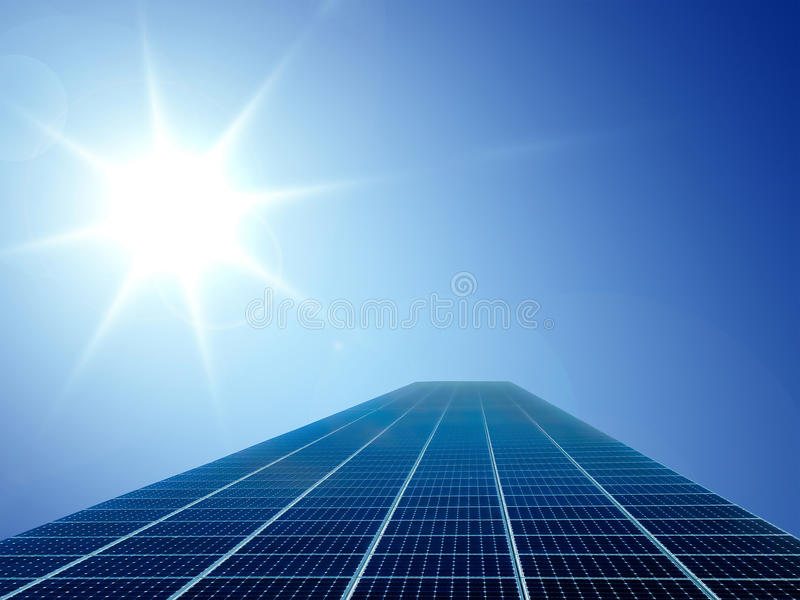 Solar Cell Energy Grid In Sun And Sky Background Stock