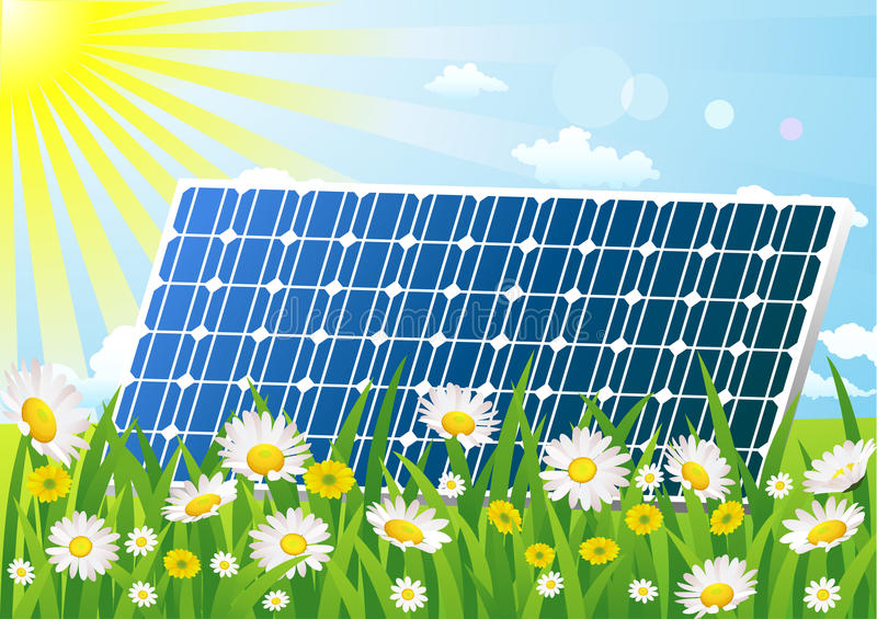 Solar Cell On The Flower Field Royalty Free Stock Photography