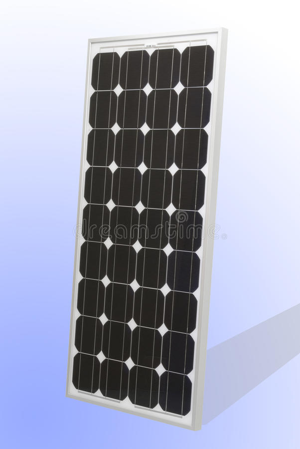Solar Cell Panel. A solar cell panel on white and blue backgrund royalty free stock photo