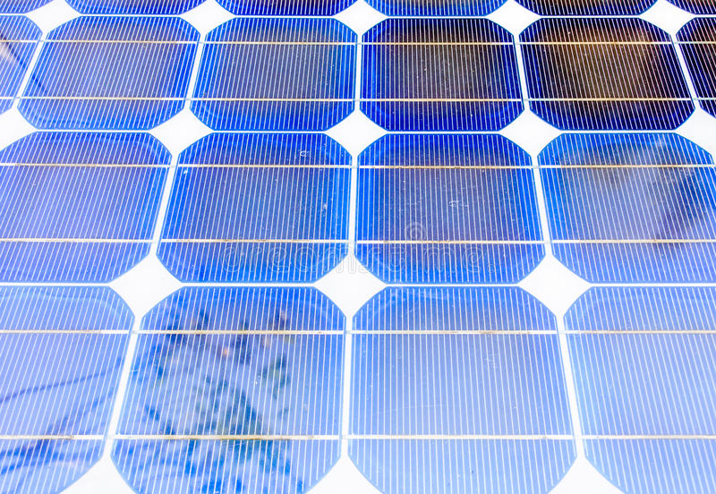 Solar cell panels. On the eletric plant of modern building stock photo