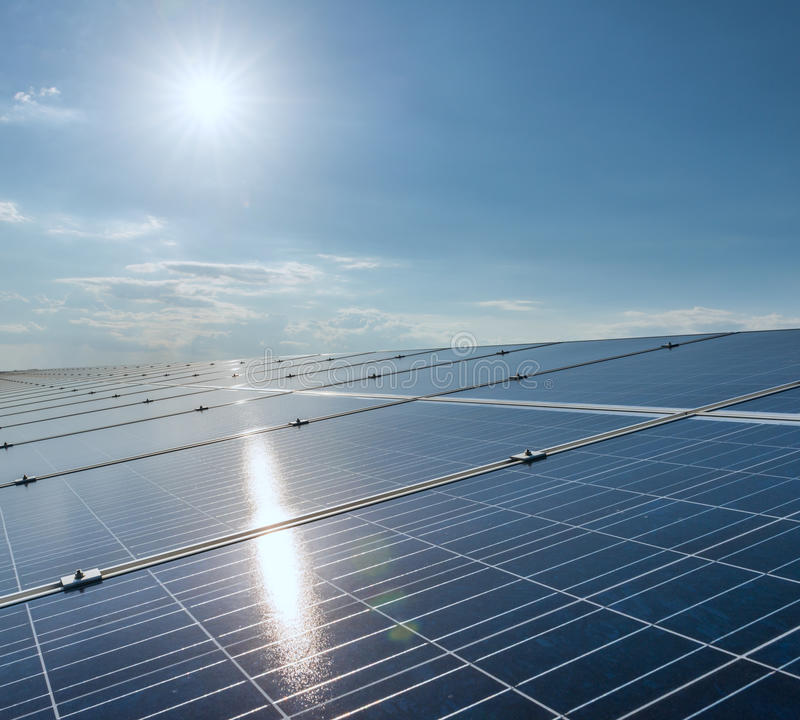 Solar cell. Panels in a photovoltaic power plant stock images
