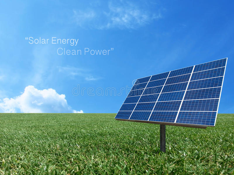 Solar cell power energy grid system in idea concept background stock photo