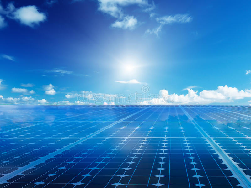 Solar cell power energy grid technology in sky background stock image