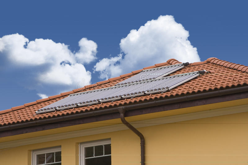 Solar cell on the roof stock photos