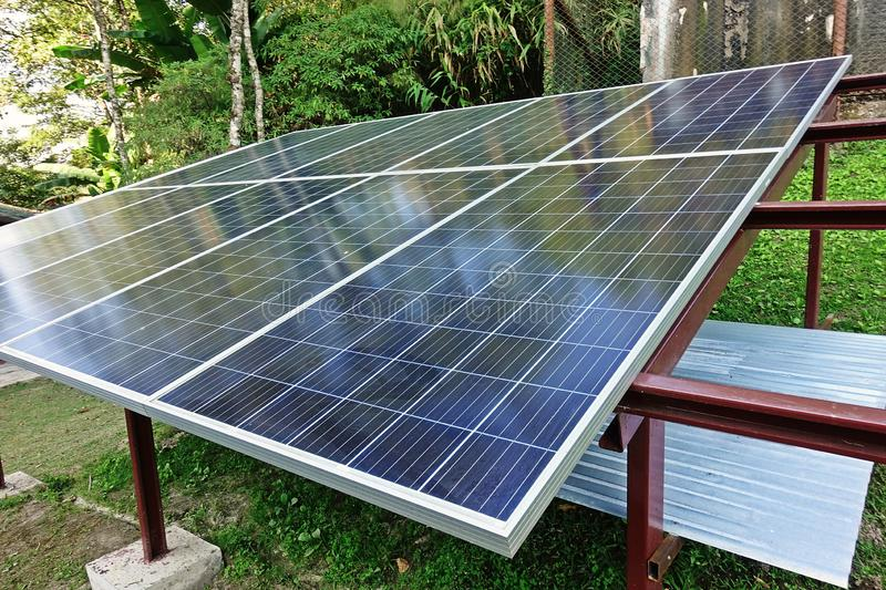 Solar cell, a source of energy in remoted  area, green energy. Enviromental friendly for electricity production, modern technology stock images