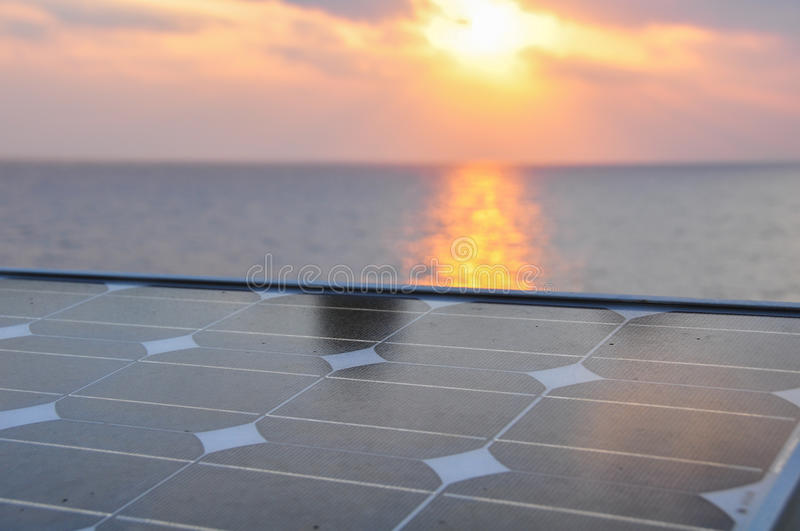 Solar cell with sunlight background, Green energy or safe energy.  royalty free stock photography
