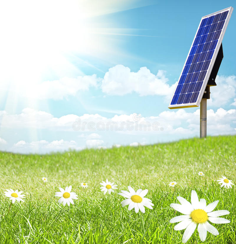 Solar Cell And Sunray Stock Photo