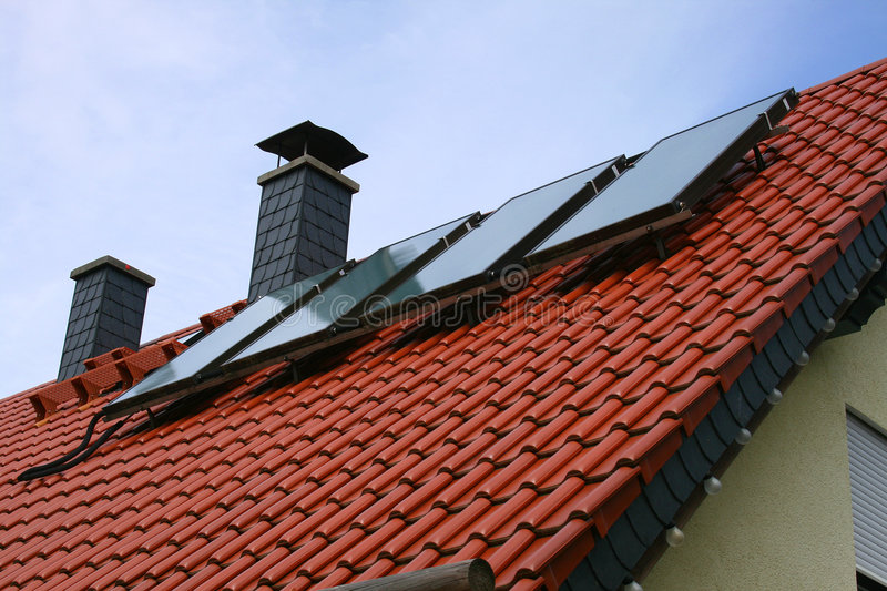 Solar cells. On a roof royalty free stock photo