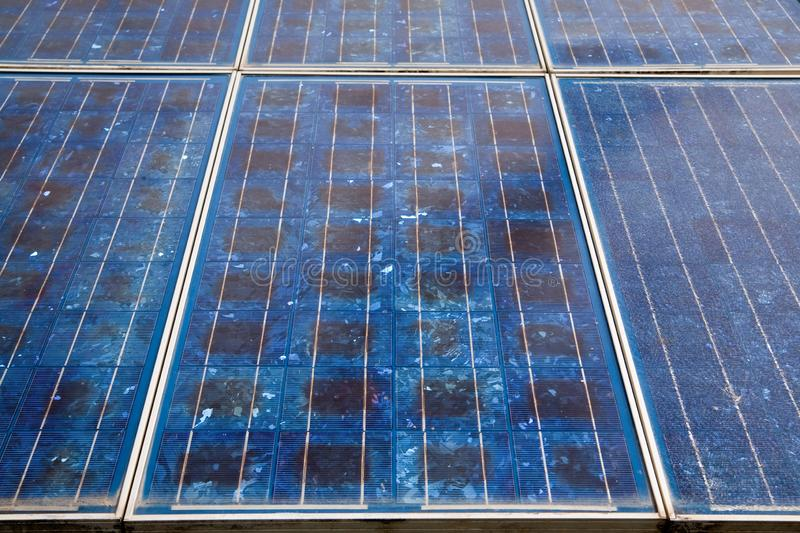 Solar cells. In the center of the sun, alternative, blue, building, clean, concept, eco, ecological, ecology, electric, electrical, electricity, energy stock photo