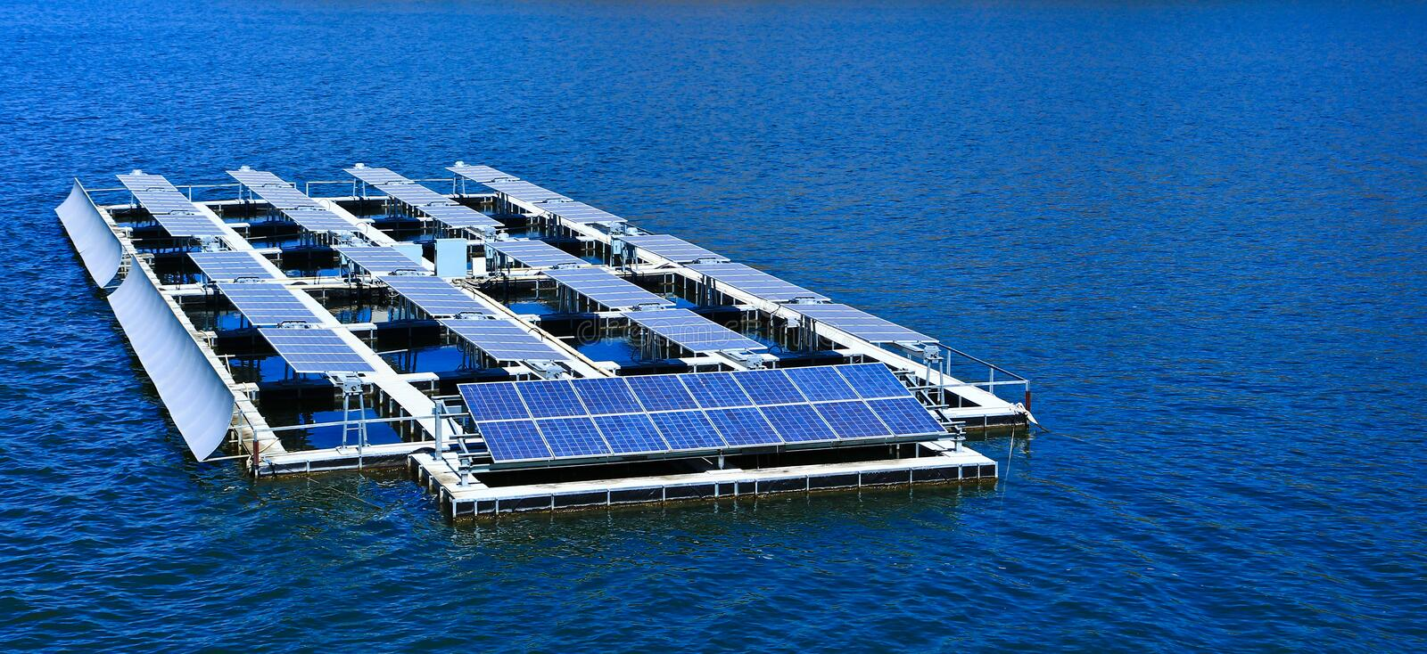 Solar cells. At the dam in Thailand stock photo