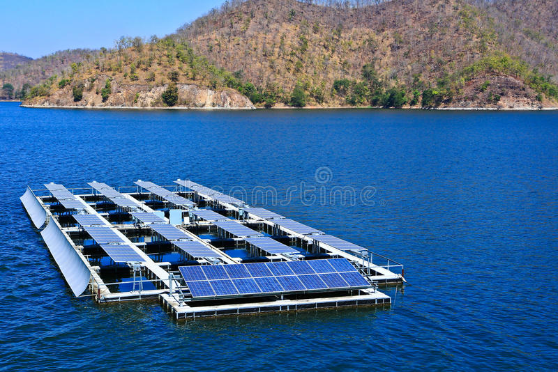 Solar cells. At the dam in Thailand stock images