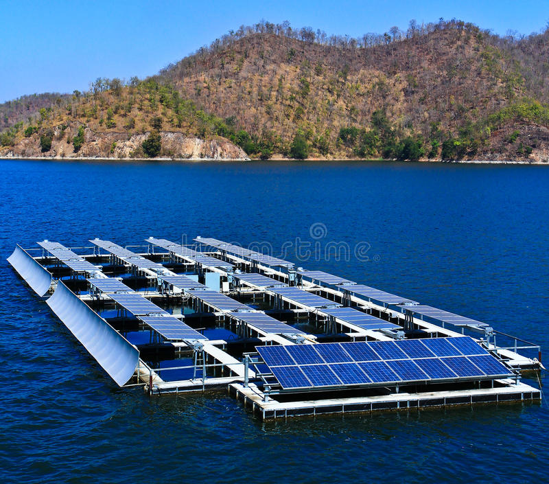 Solar cells. At the dam in Thailand stock photography
