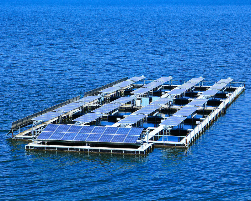 Solar cells. At the dam in Thailand royalty free stock photo