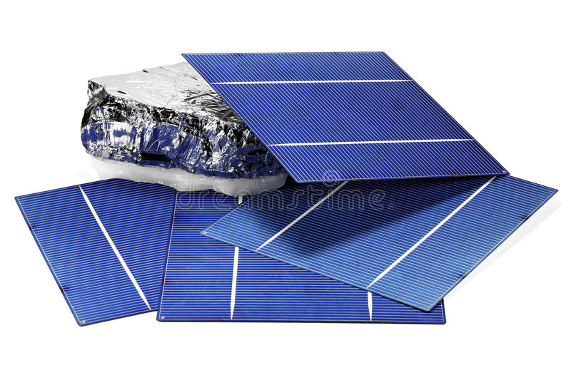 Solar cells. With polycrystalline silicon isolated on white background stock photography
