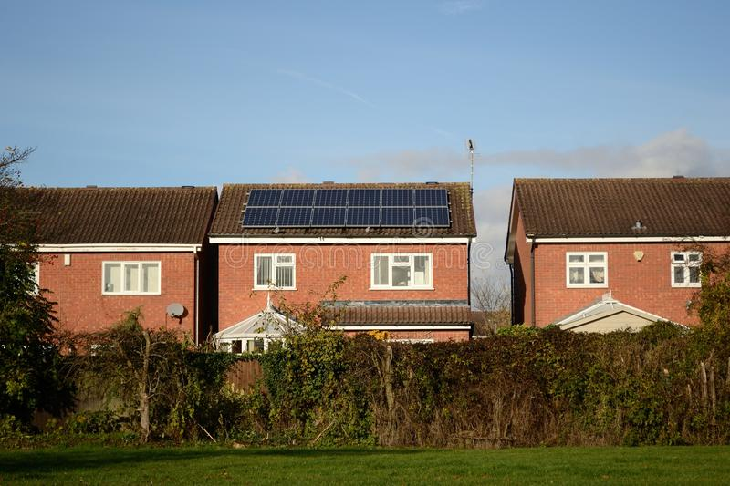 Solar cells on roof. Of house in sunny day royalty free stock images