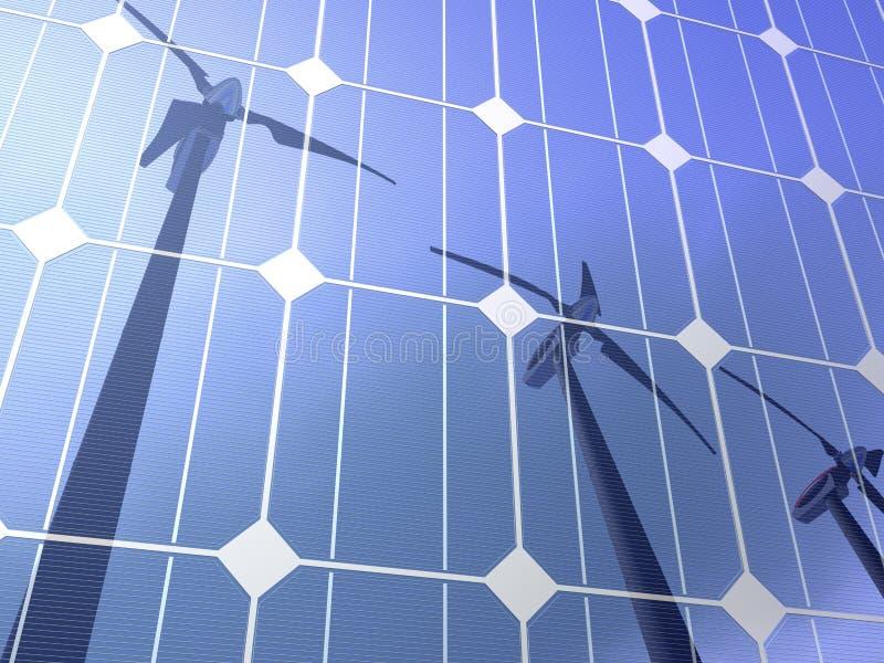 Solar cells wind turbines royalty free illustration