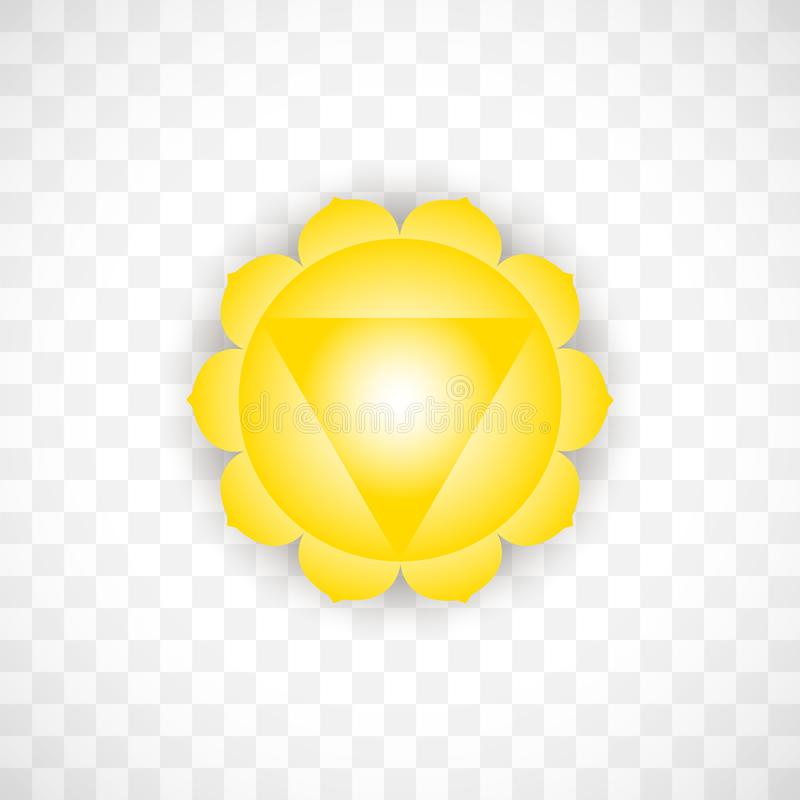 Solar chakra Manipura in yellow color isolated on transparent background. Isoteric flat icon. Geometric pattern. Solar chakra Manipura in yellow color isolated royalty free illustration