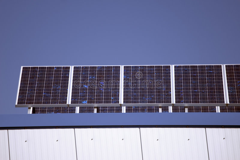 Solar Collectors. Of an industrial plant for alternative energy stock images