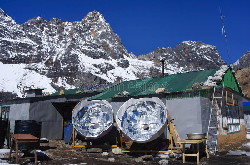 Solar cooker in the Himalaya mountains stock photo