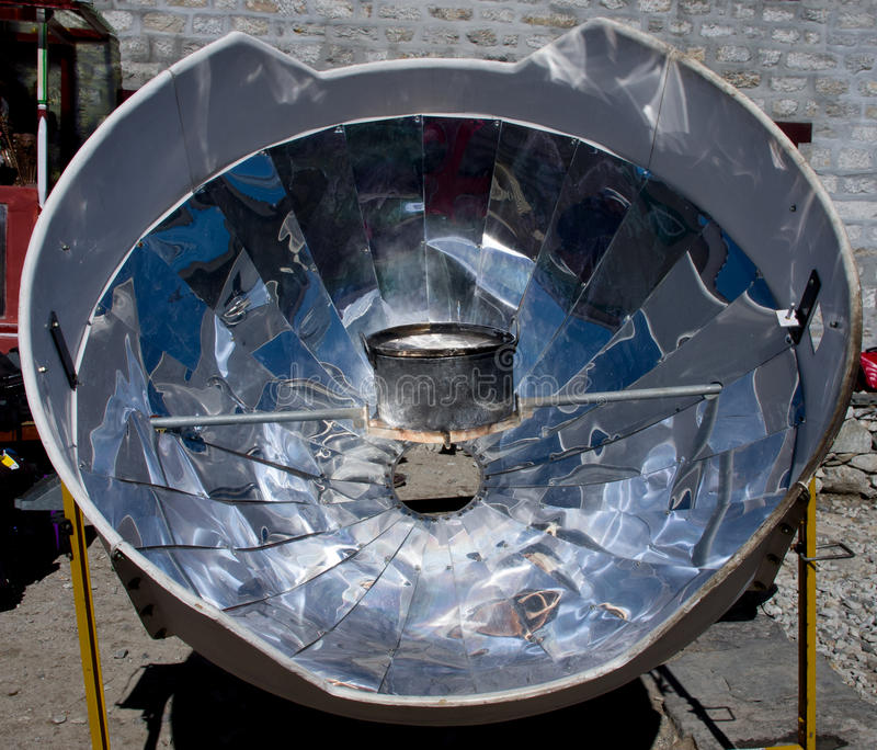 Solar cooker in the Himalaya mountains. Nepal royalty free stock image