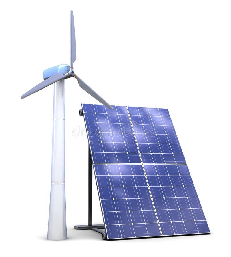 Solar e energias eólicas ilustração do vetor