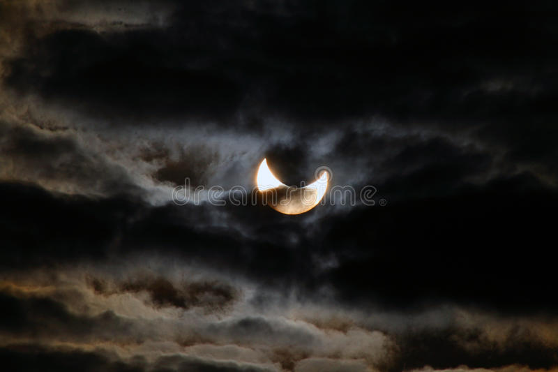 Solar eclipse. In 2011-January-4 as view in naples southern italy royalty free stock images