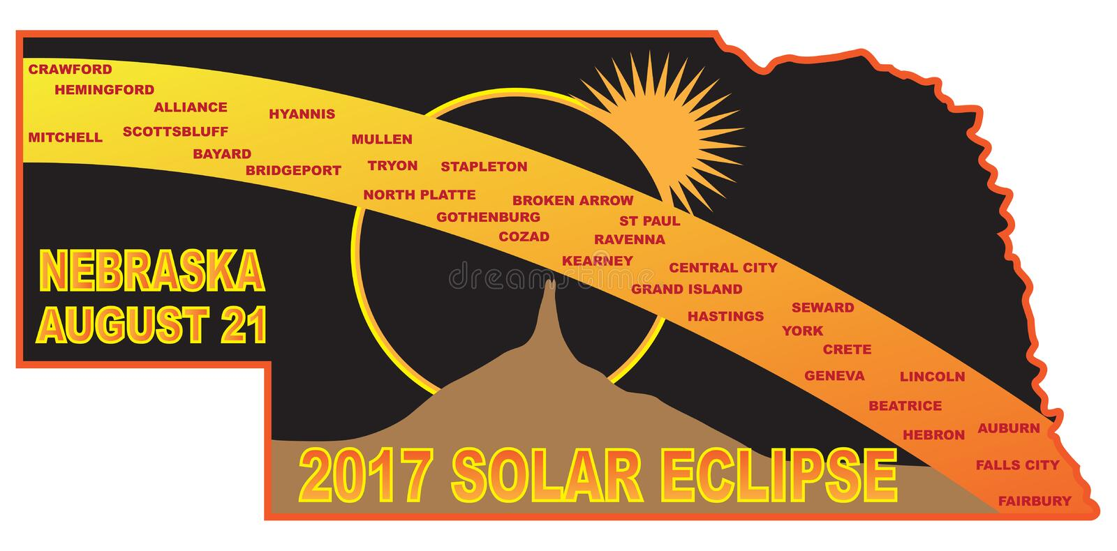2017 Solar Eclipse Across Nebraska Cities Map vector Illustration royalty free illustration