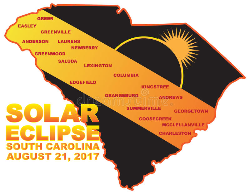 2017 Solar Eclipse Across South Carolina Cities Map Illustration vector illustration